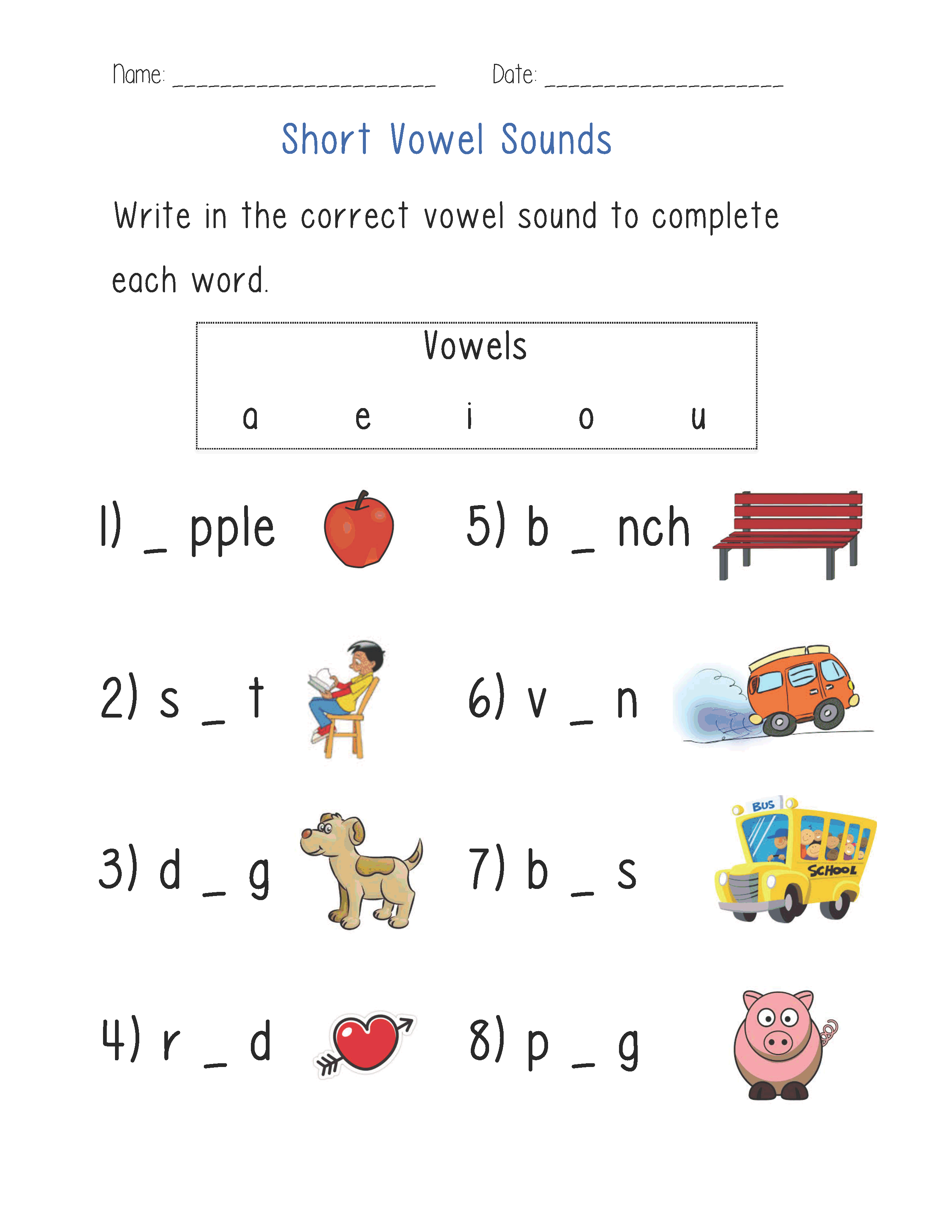 Vowels Worksheets – Short Vowel Sounds Worksheets for Kindergarten