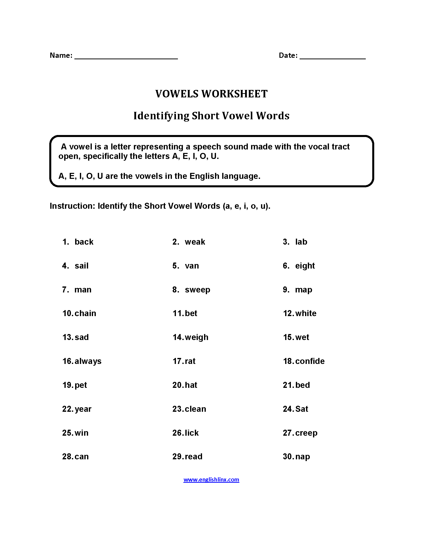 Englishlinx – Short Vowel Worksheets Kindergarten