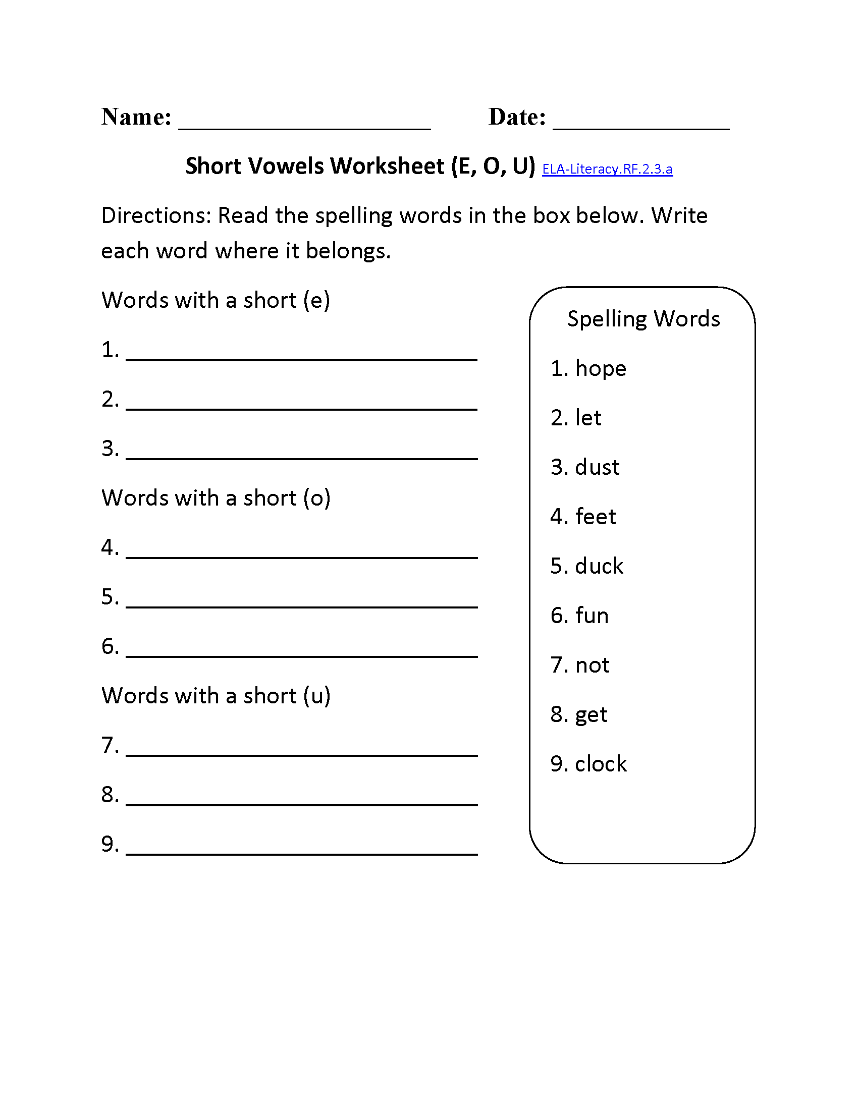 2nd Grade Common Core   Reading Foundational Skills Worksheets