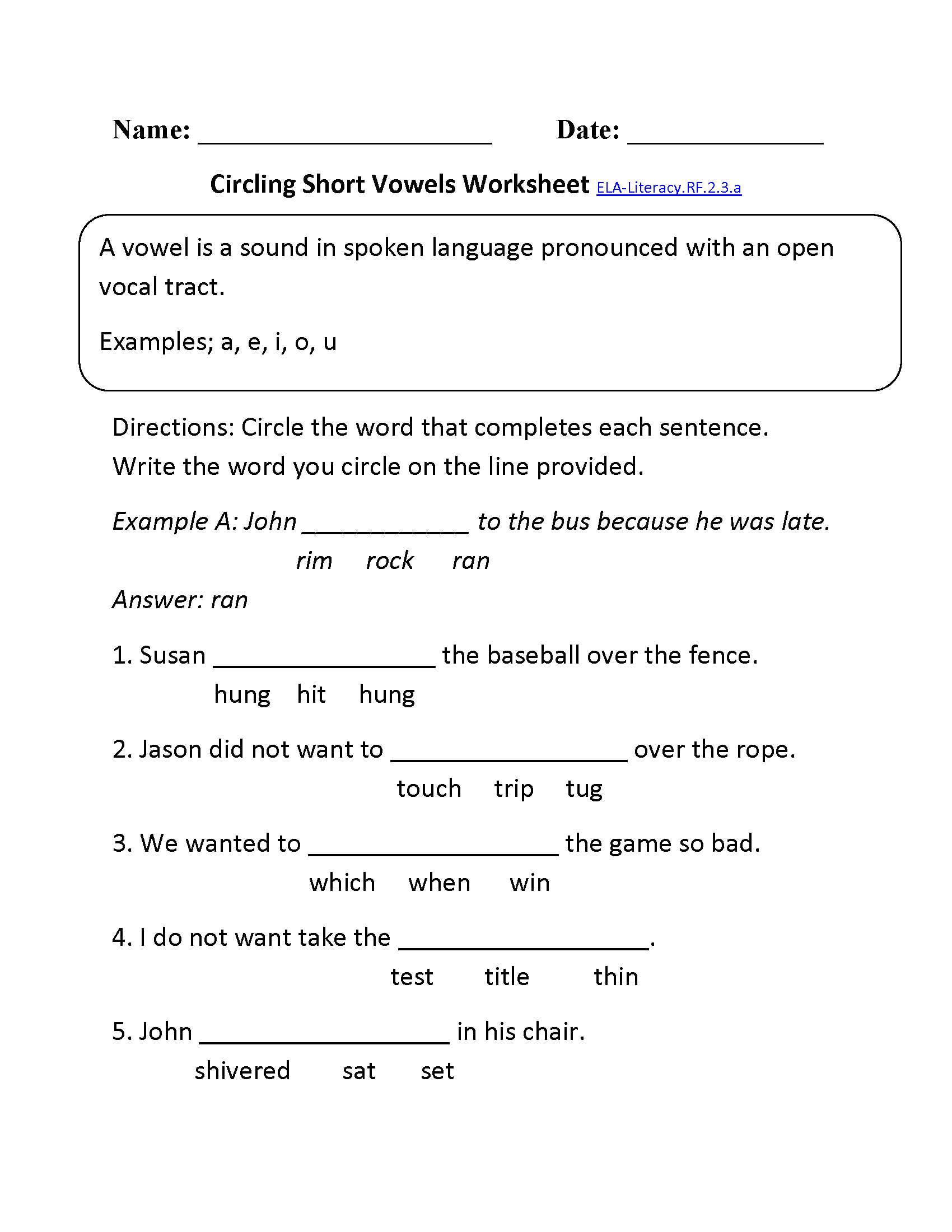 Worksheets Second Grade Phonics Worksheets 2nd grade common core reading foundational skills worksheets short vowels ela literacy rf 2 3 a skills