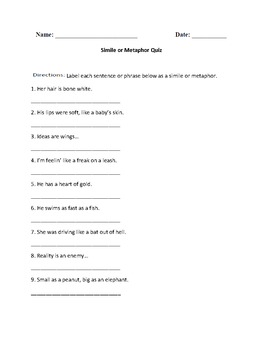 Similes Worksheets | Simile or Metaphor Quiz Worksheet