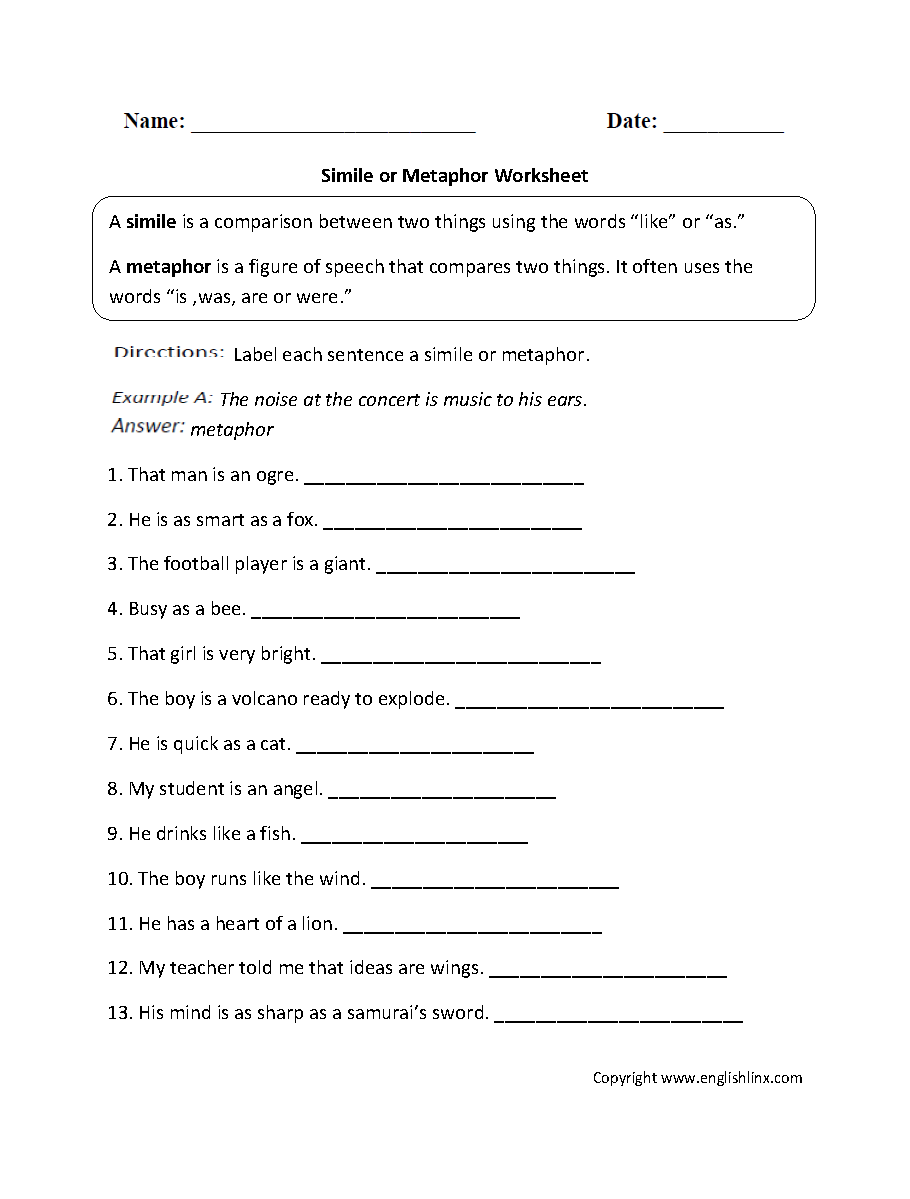 Figurative Language Worksheets – Metaphor Simile Worksheet