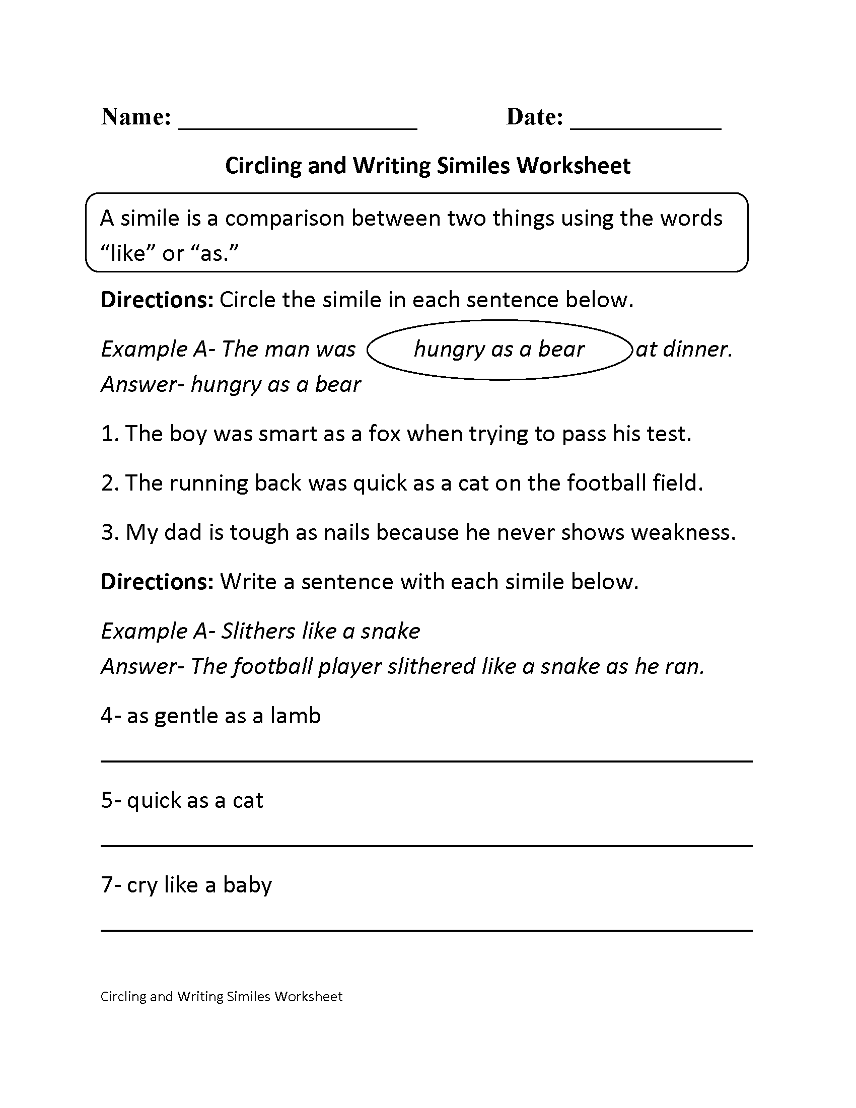 Englishlinx Similes Worksheets