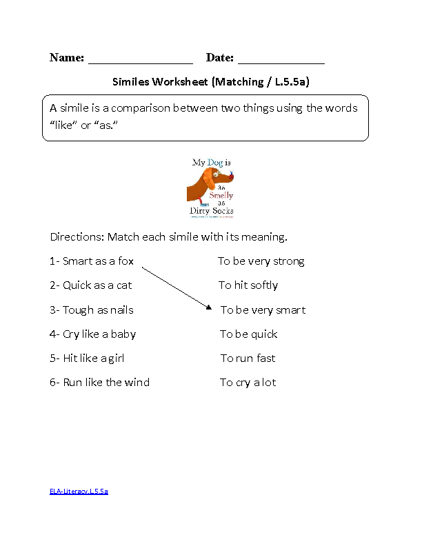 Simile Worksheet 1 ELA-Literacy.L.5.5a Language Worksheet