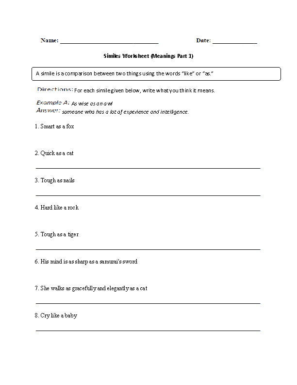 Meanings of Similes Worksheet