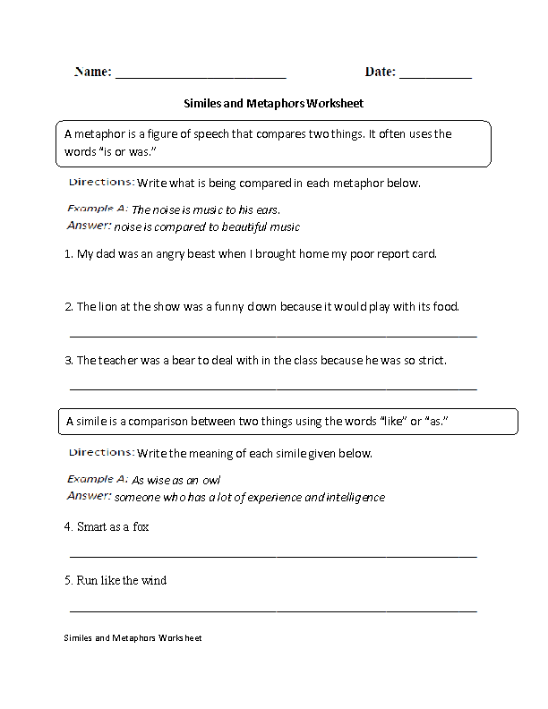 Similes Worksheets | Similes and Metaphors Worksheet