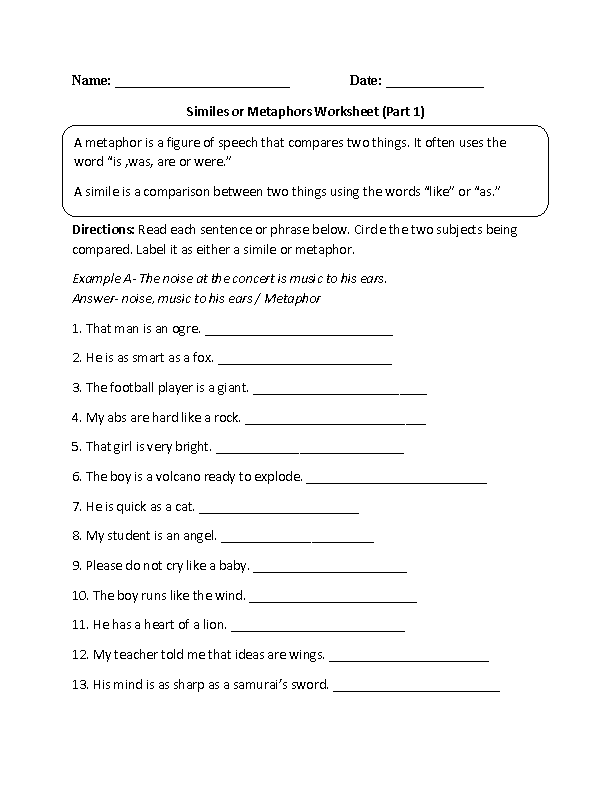 Worksheets Metaphor And Simile Worksheet similes worksheets or metaphors worksheet worksheet