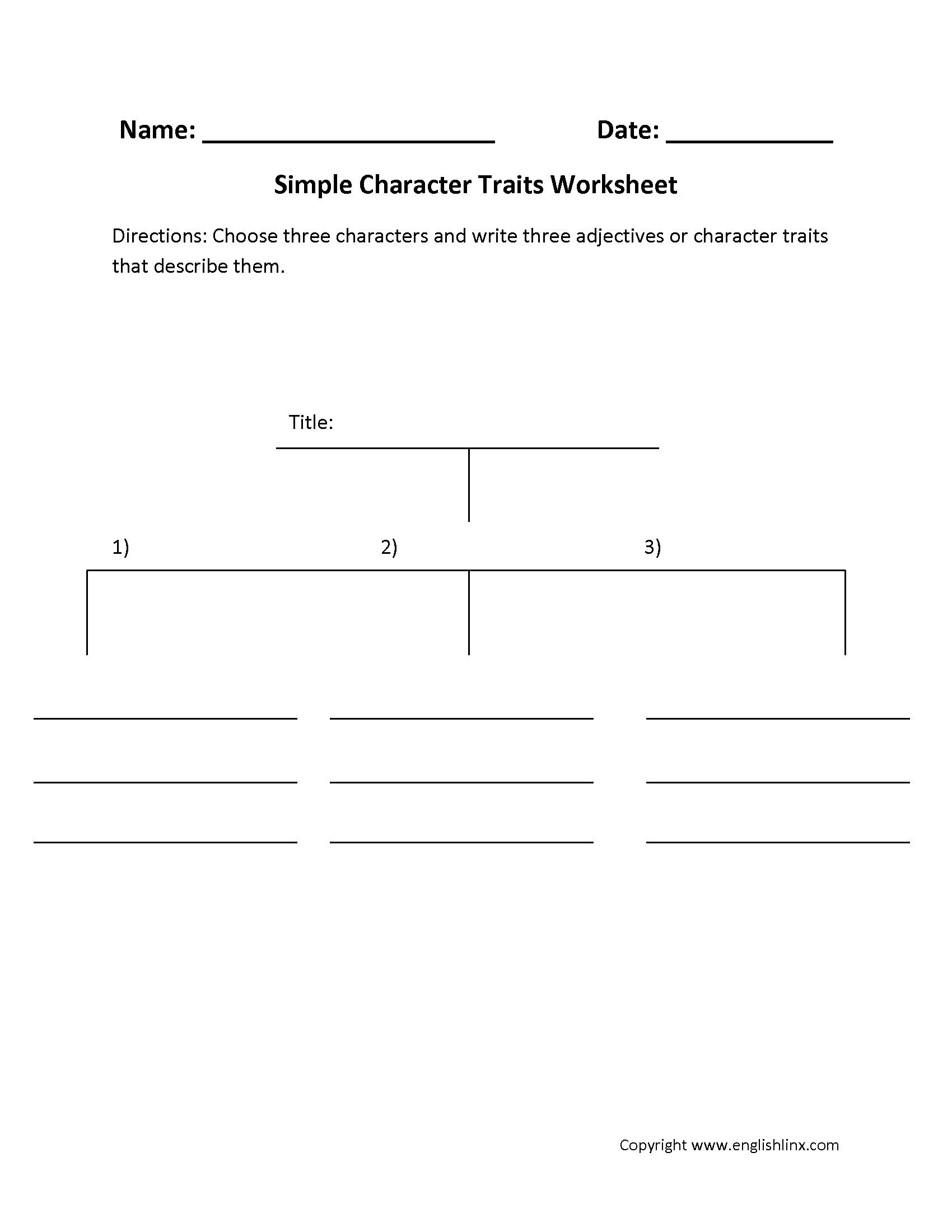 Free Worksheet Identifying Character Traits Worksheet englishlinx com character analysis worksheets simple traits worksheets