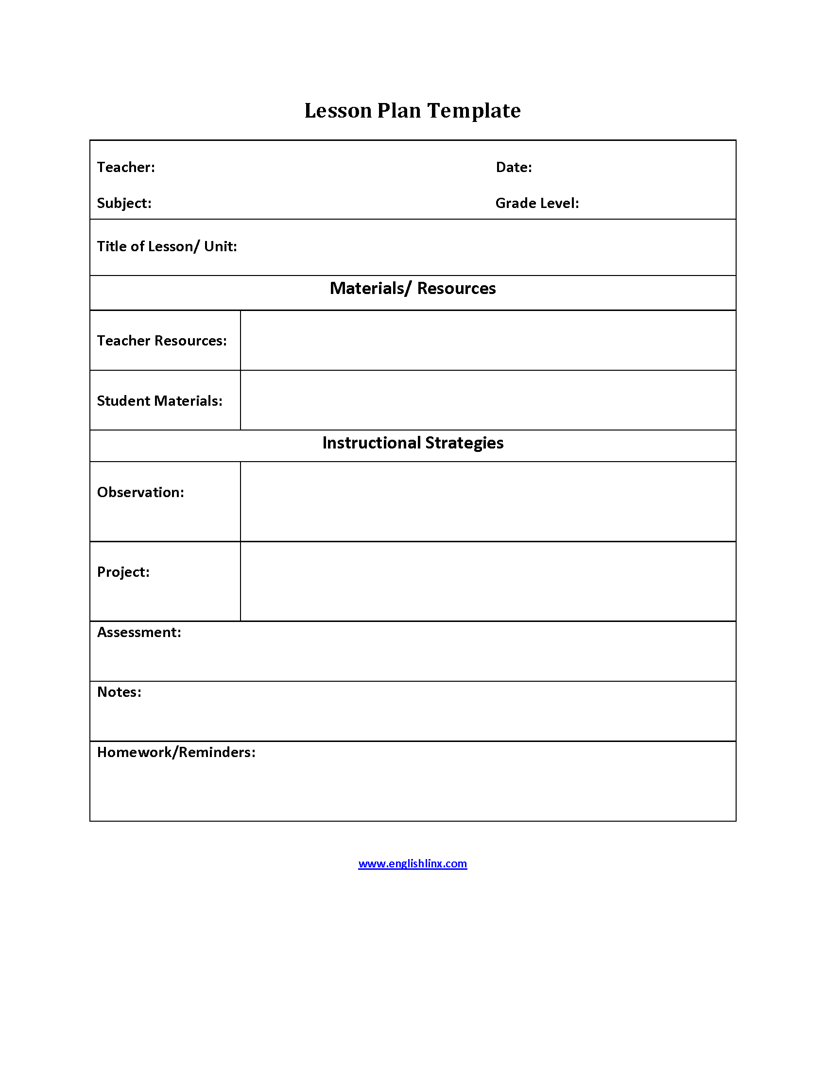 Lesson plan template simple lesson plan template for Efl lesson plan template