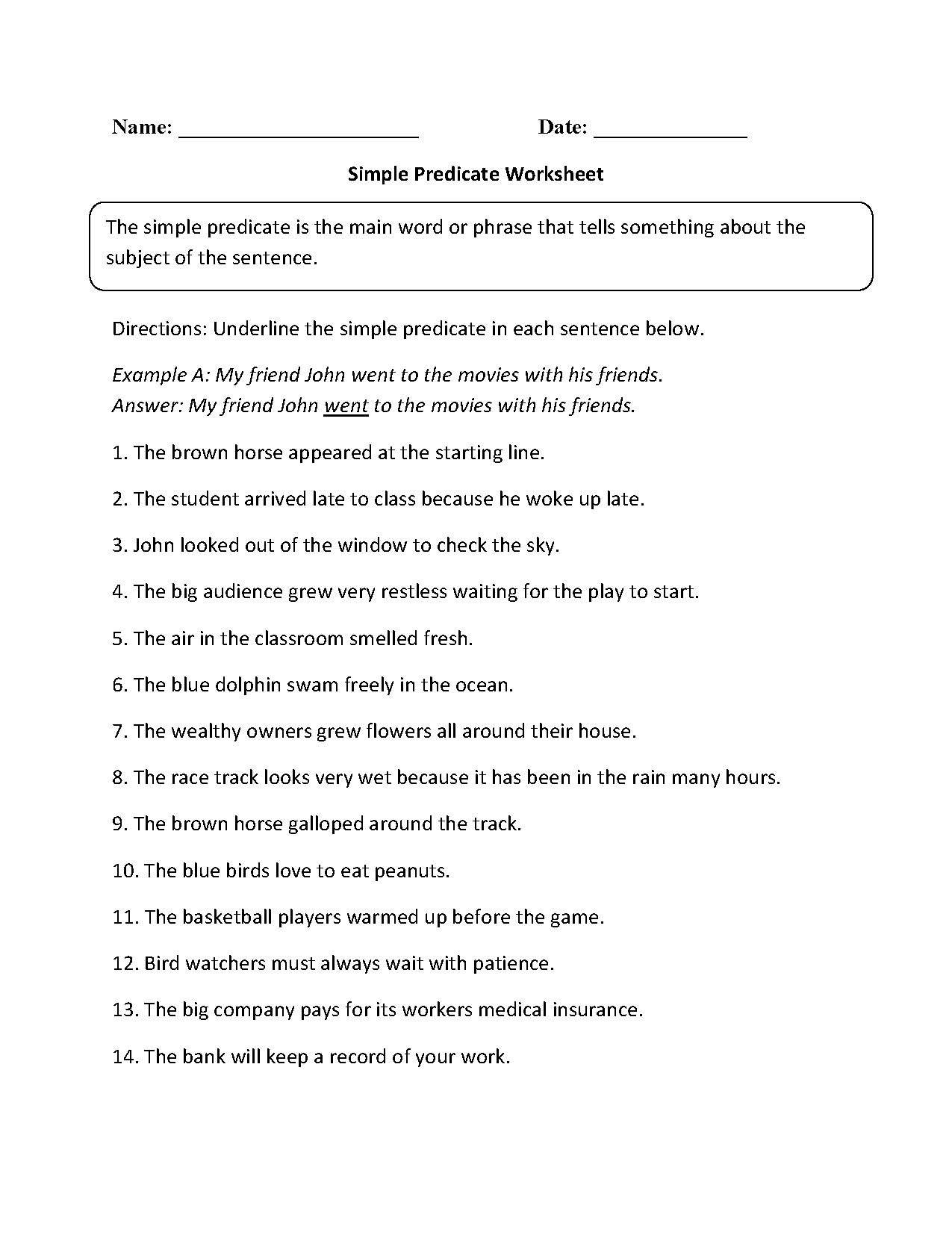 Subject and Predicate Worksheets | Compound Predicate Worksheet Part 1