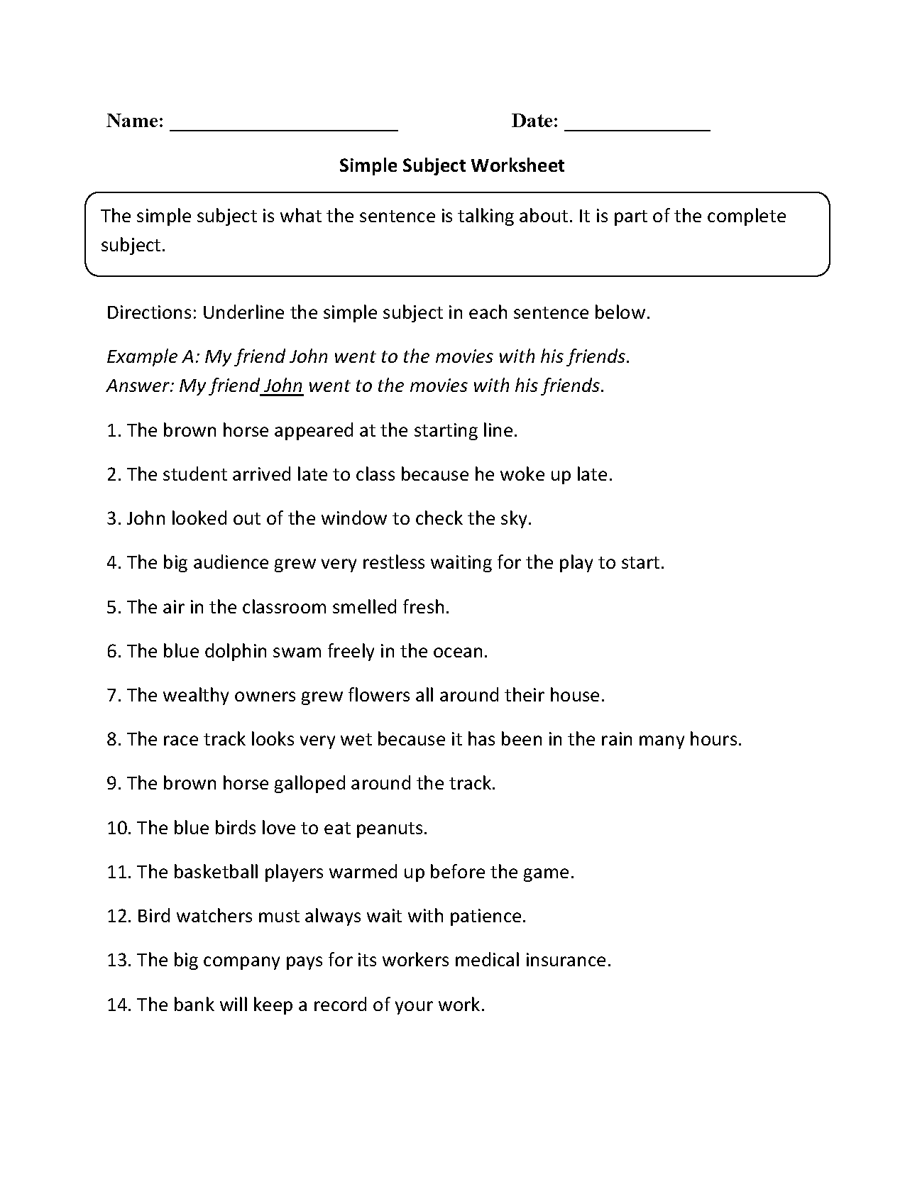 Subject and Predicate Worksheets | Simple Subject Worksheet