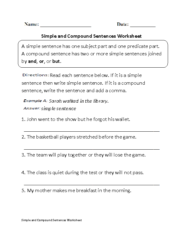 Compound Sentences Worksheets | Simple and Compound Sentences ...