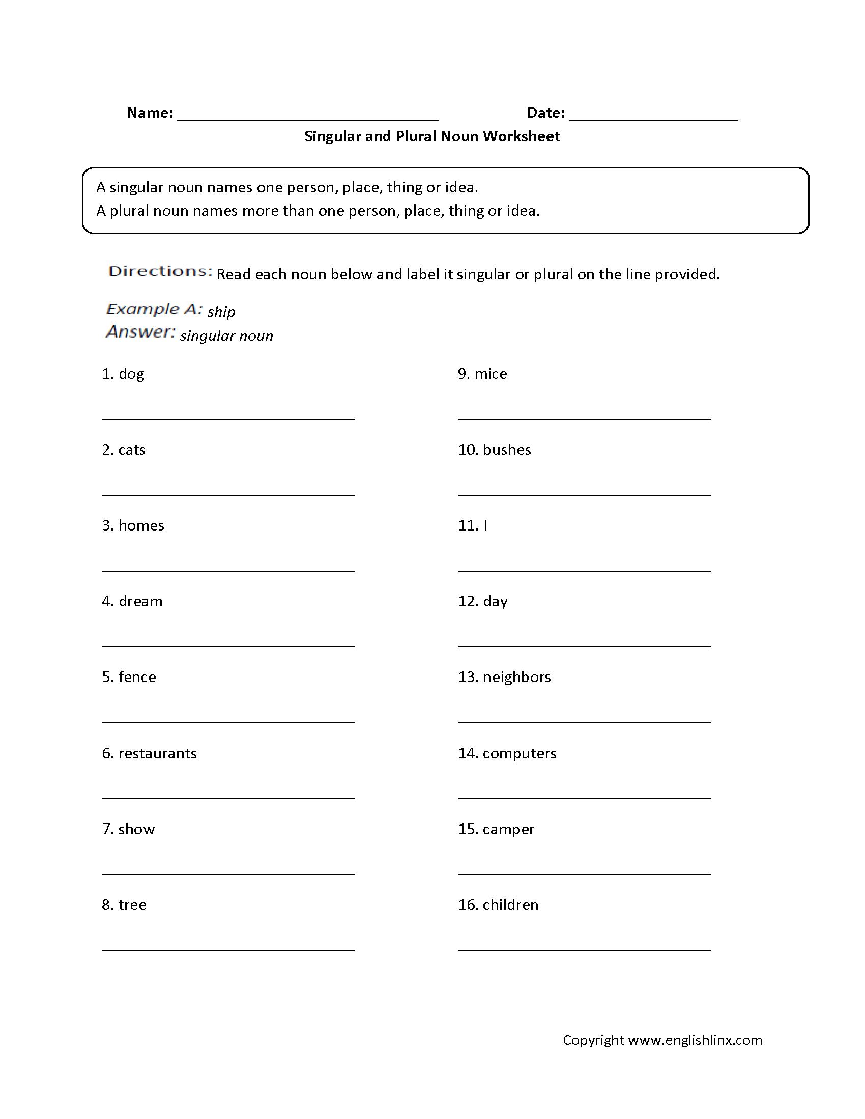 Parts Speech Worksheets | Noun Worksheets