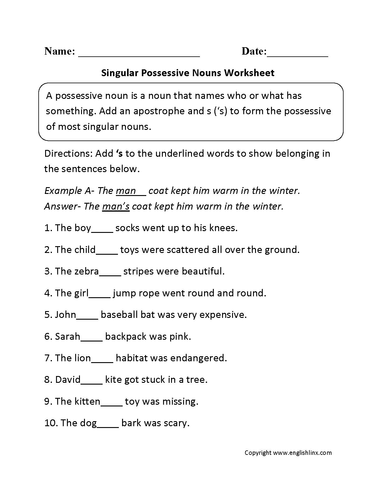 Possessive Nouns Worksheets : Singular Possessive Nouns ...