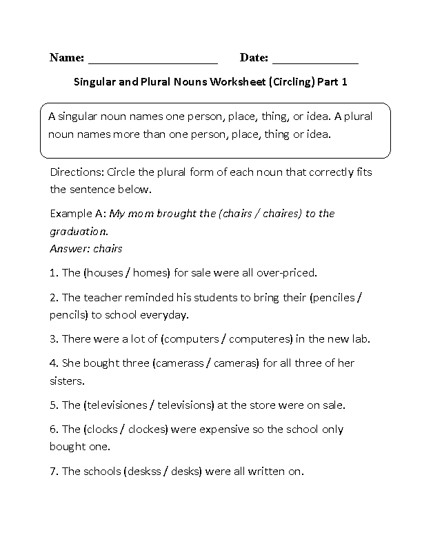Worksheet Plural Nouns Worksheets nouns worksheets singular and plural circling worksheet part 1