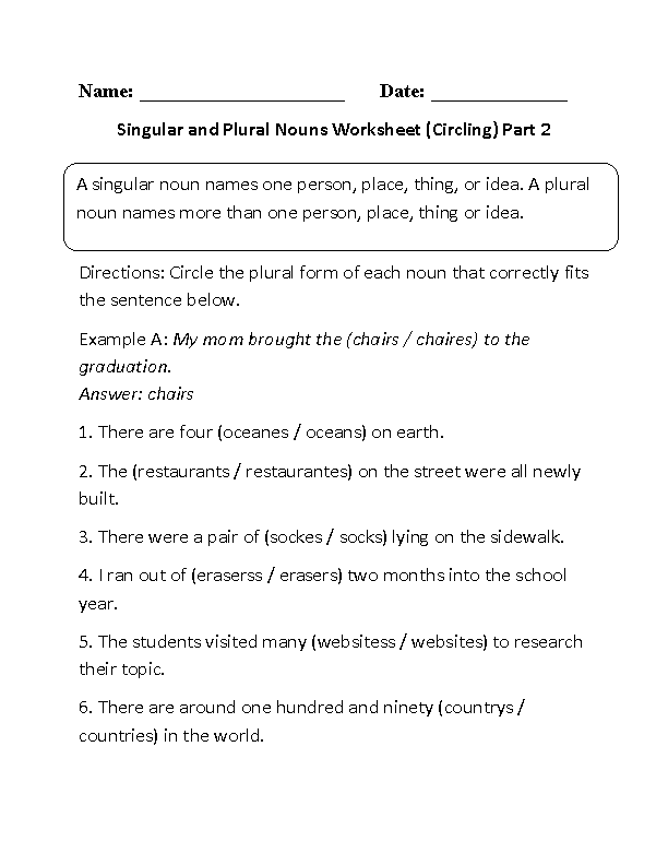 Printables Singular And Plural Nouns Worksheet nouns worksheets singular and plural circling worksheet part 2