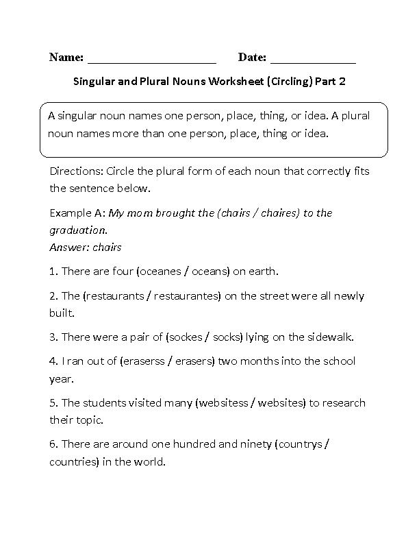 Singular And Plural Nouns Worksheets Circling Singular And Plural Nouns  Worksheet Part 2