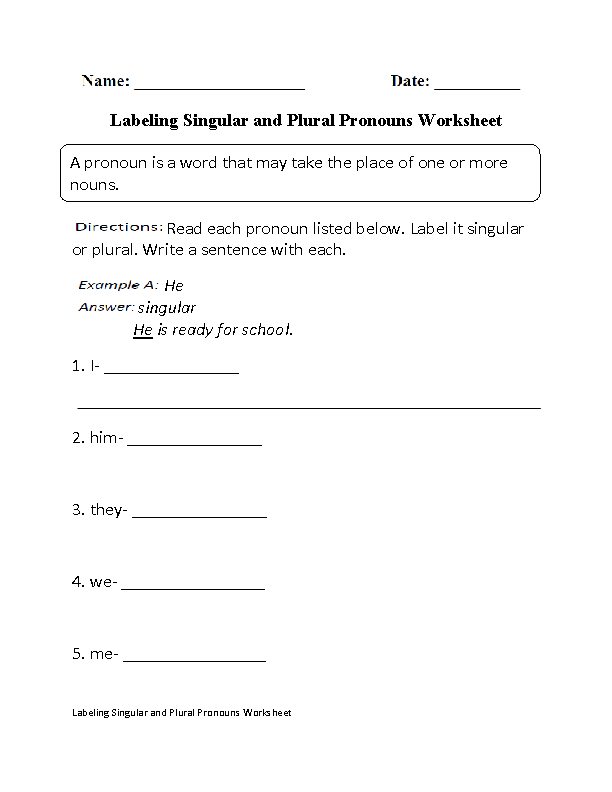 Singular and Plural Nouns Worksheets from The Teacher'-s Guide