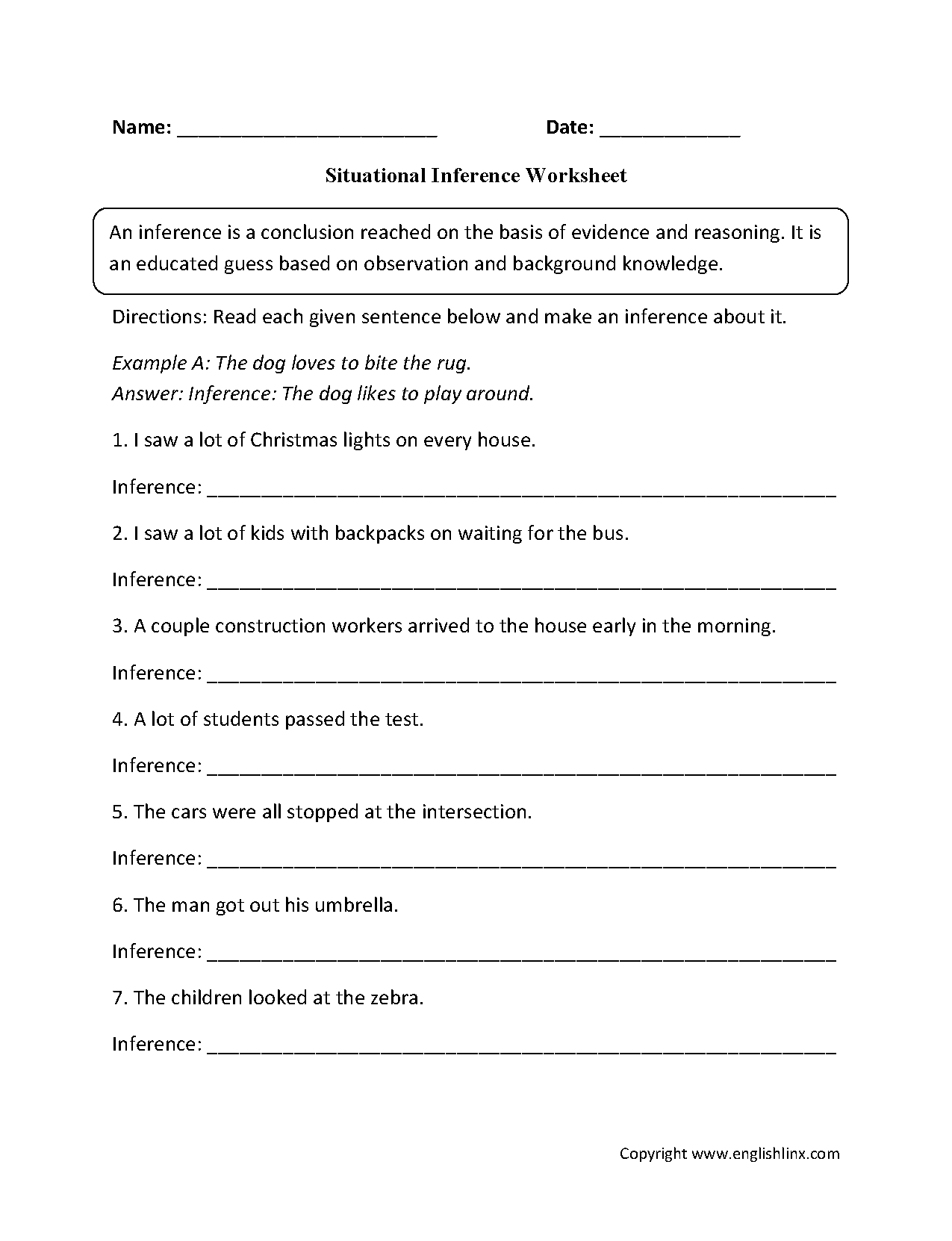 Worksheets Inferences Worksheet 4 reading worksheets inference worksheets