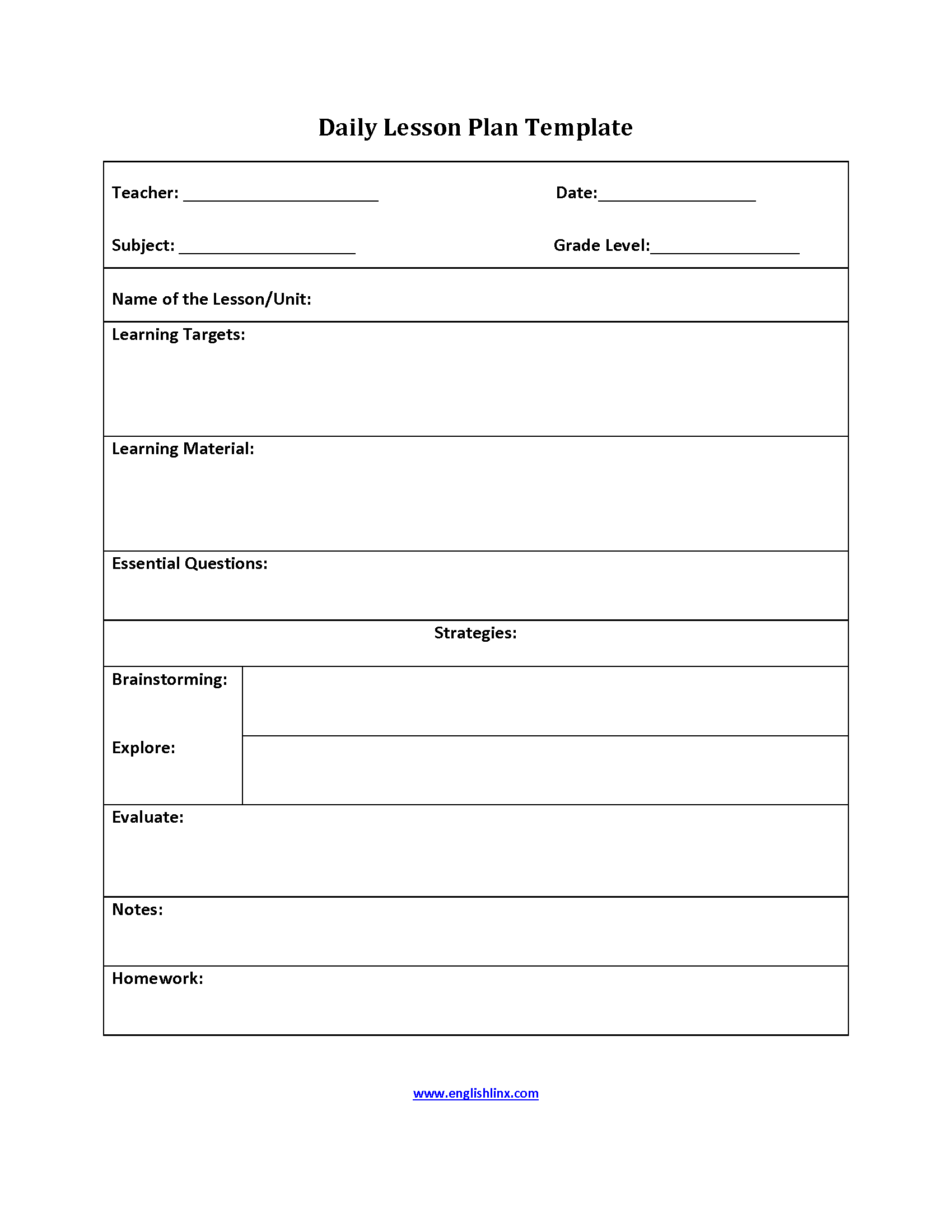 Englishlinxcom Lesson Plan Template - Free daily lesson plan template printable