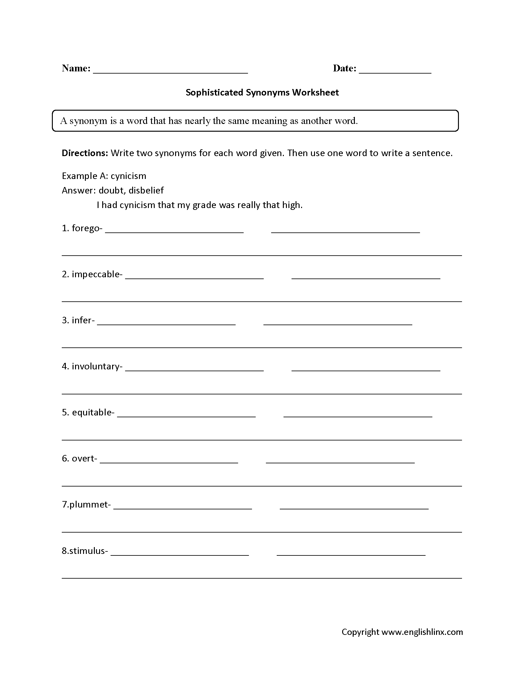 Worksheets Grade 6 Worksheets englishlinx com synonyms worksheets worksheets