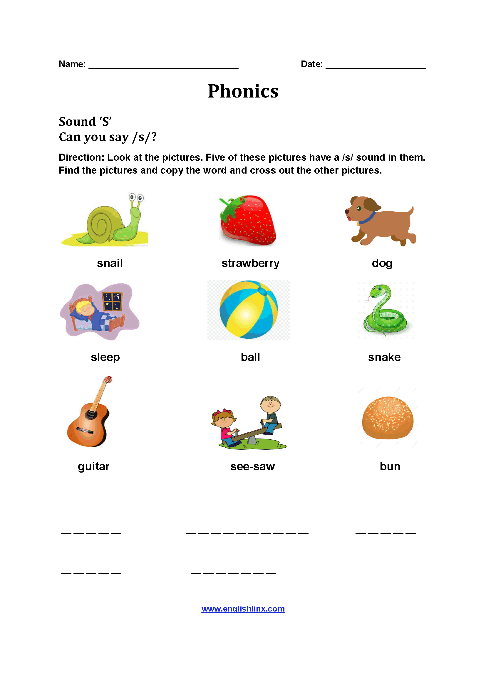 Sound S Phonics Worksheet on printable english worksheets 6th grade