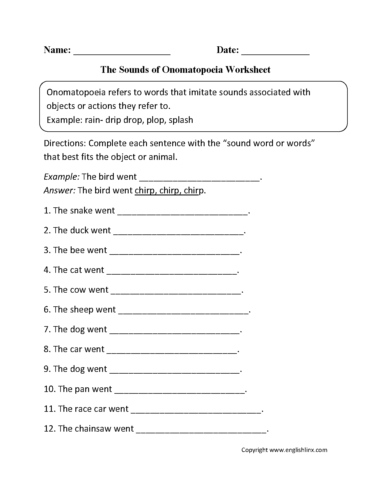 Worksheets Onomatopoeia Worksheet englishlinx com onomatopoeia worksheets sounds of worksheet