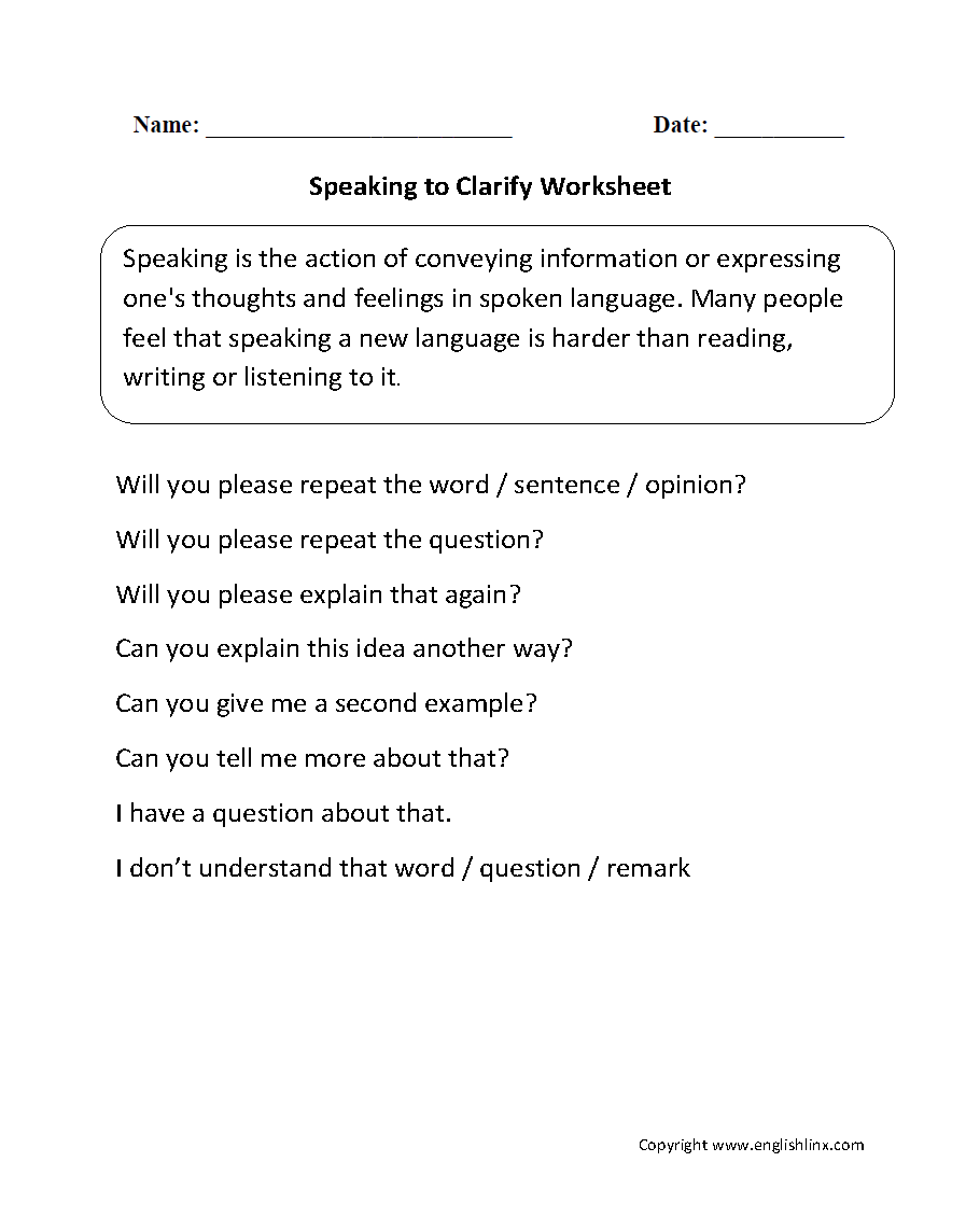 Speaking to Clarify Worksheets