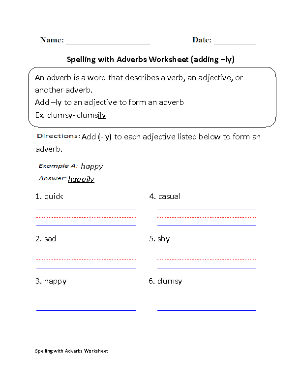 Adverbs Worksheets | Spelling with Adverbs Worksheets