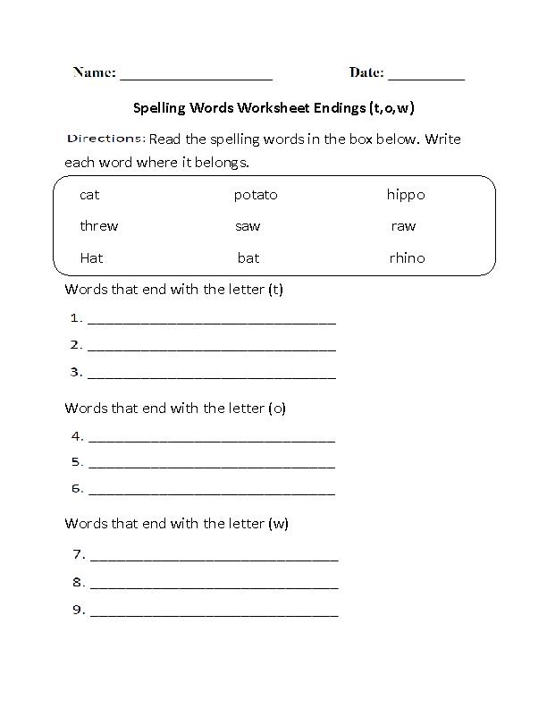 Spelling Worksheets General. Spelling Worksheet Words Ending Tow Beginner. Worksheet. Worksheet Spelling Words At Mspartners.co