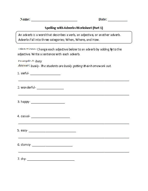 Printable Worksheets sixth grade spelling words worksheets : Englishlinx.com | Adverbs Worksheets