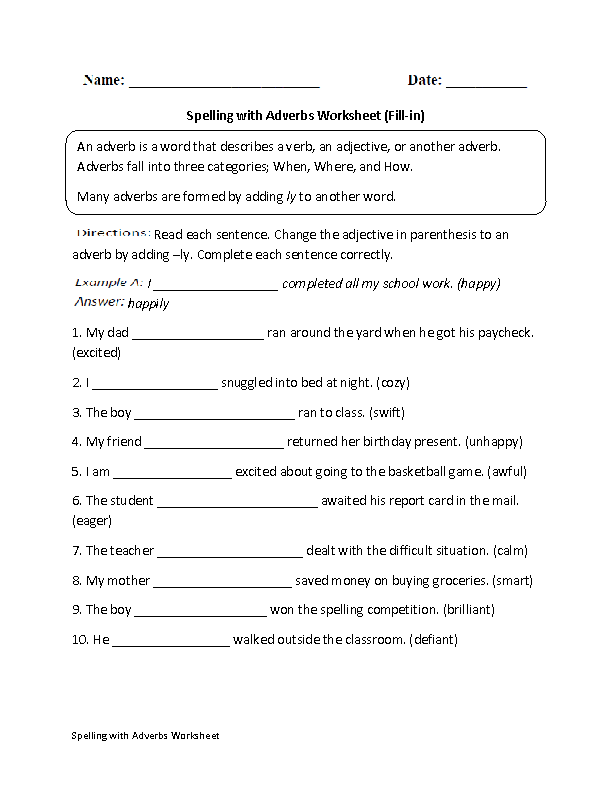 Adverbs Worksheets – Spelling Worksheets for Grade 4