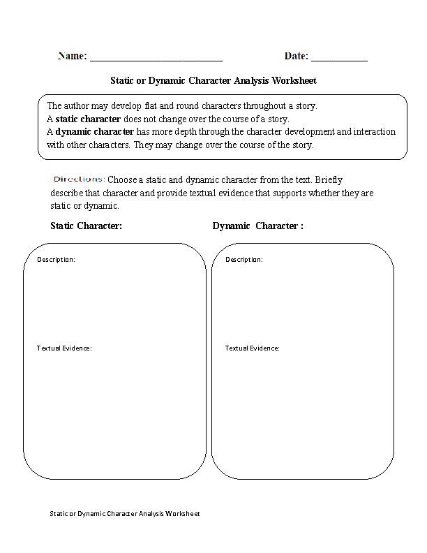 Static or Dynamic Character Analysis Worksheet