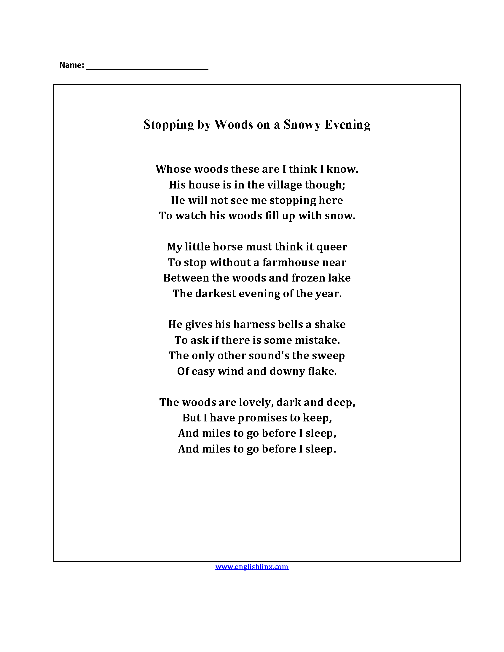 essay on stopping by woods on a snowy evening fahrenheit analysis  poetry worksheets stopping by the woods poetry worksheets stopping by the woods poetry worksheets stopping by woods on a snowy evening essay