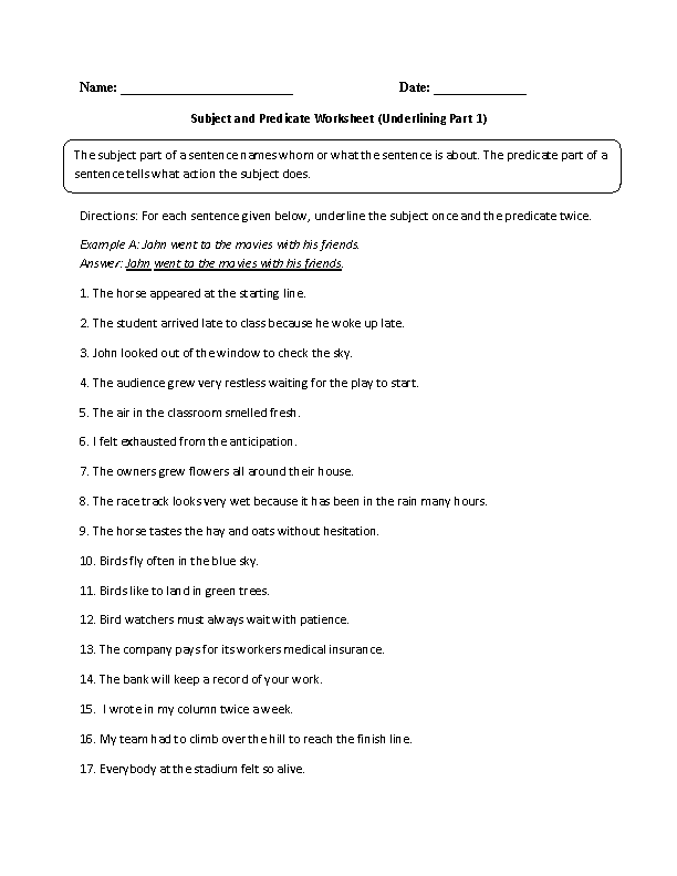 Printables Subject And Predicate Worksheet englishlinx com subject and predicate worksheets finding worksheet