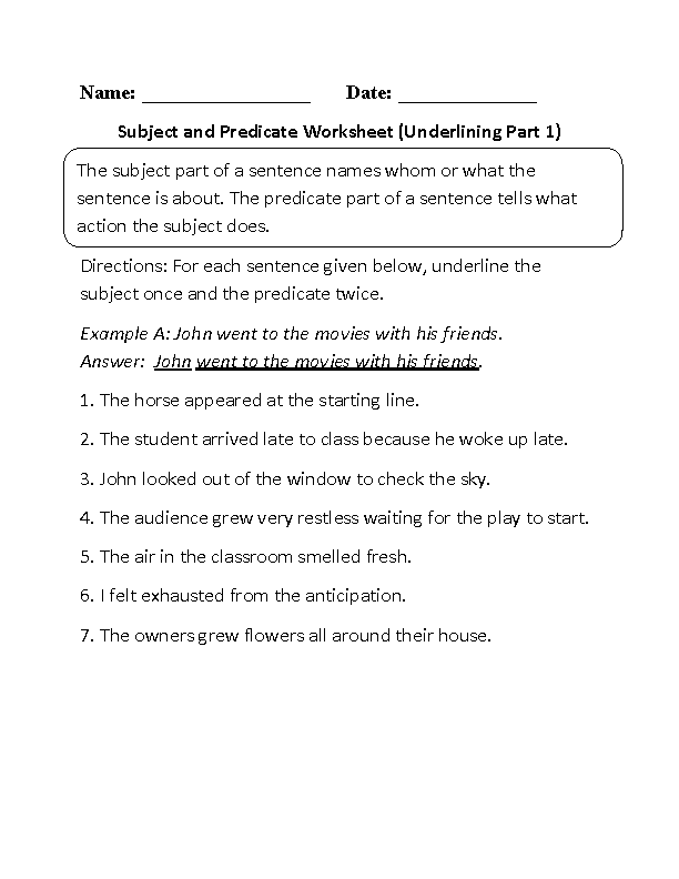 ... Worksheets | Subject and Predicate Worksheet Underlining Part 1