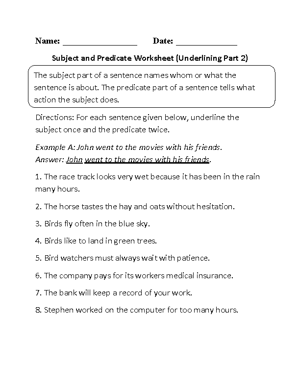 Subject and Predicate Worksheet Underlining Part 2