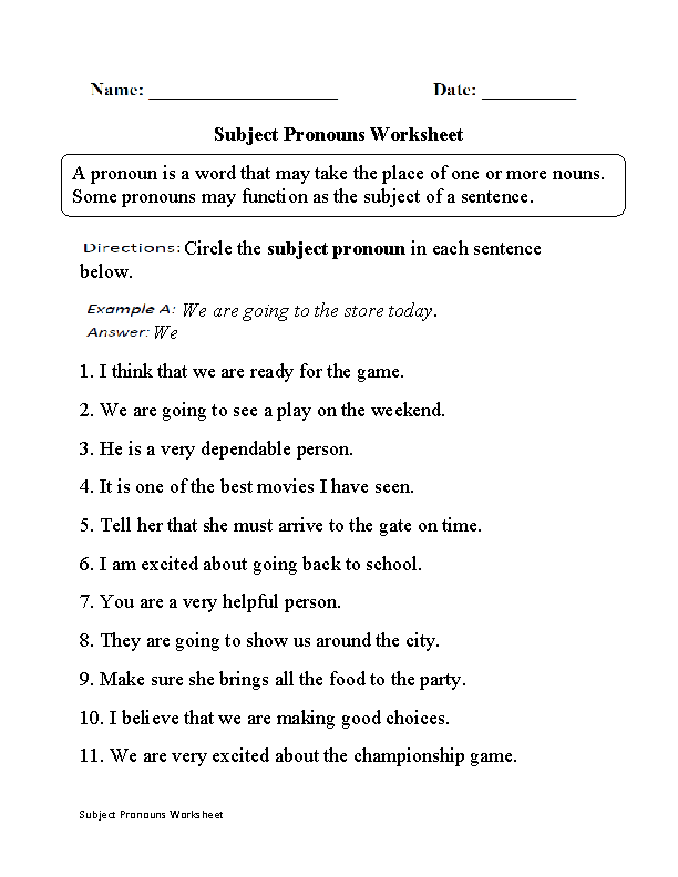 {Pronouns Worksheets – Subject Pronoun Worksheets
