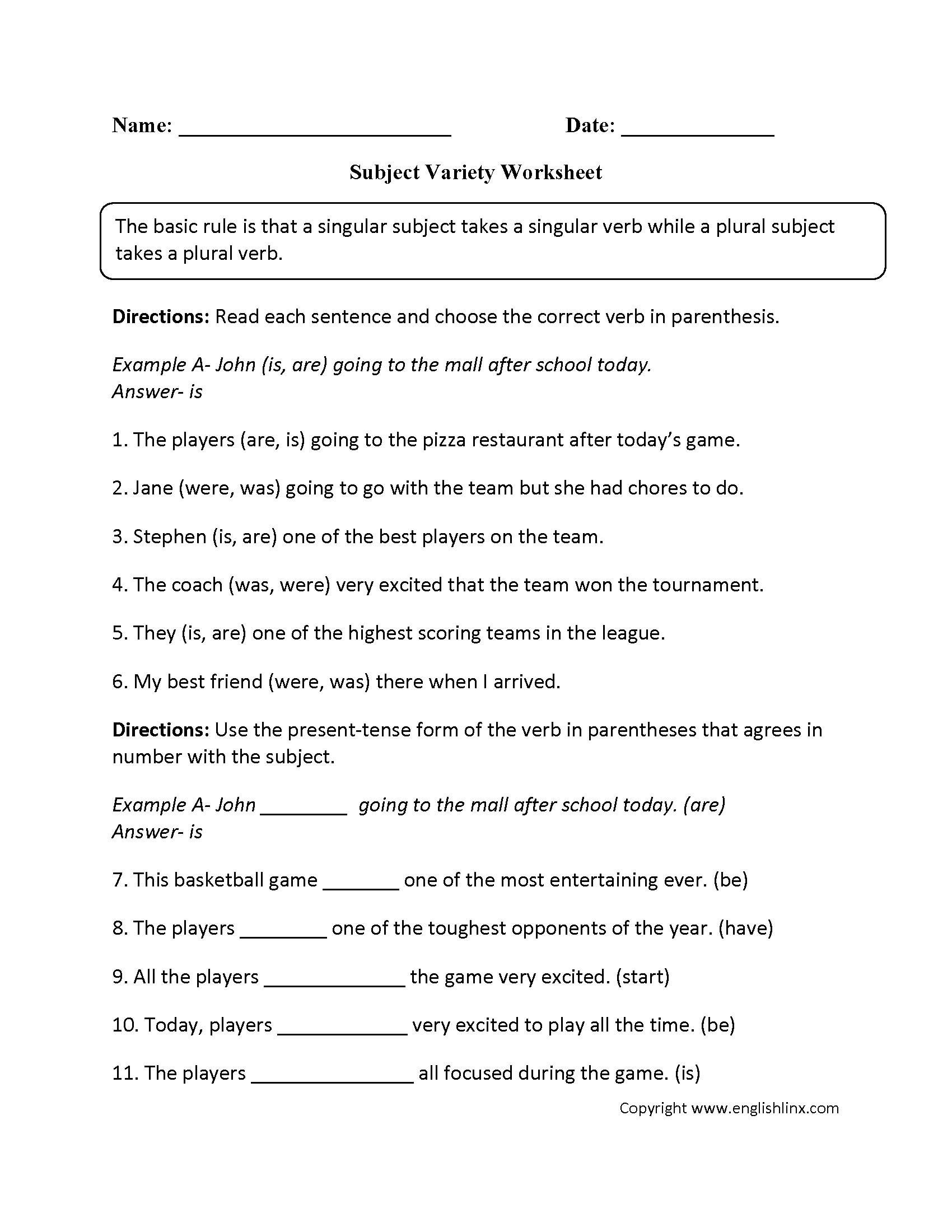 Word Usage Worksheets – Subject Verb Agreement Worksheet 4th Grade