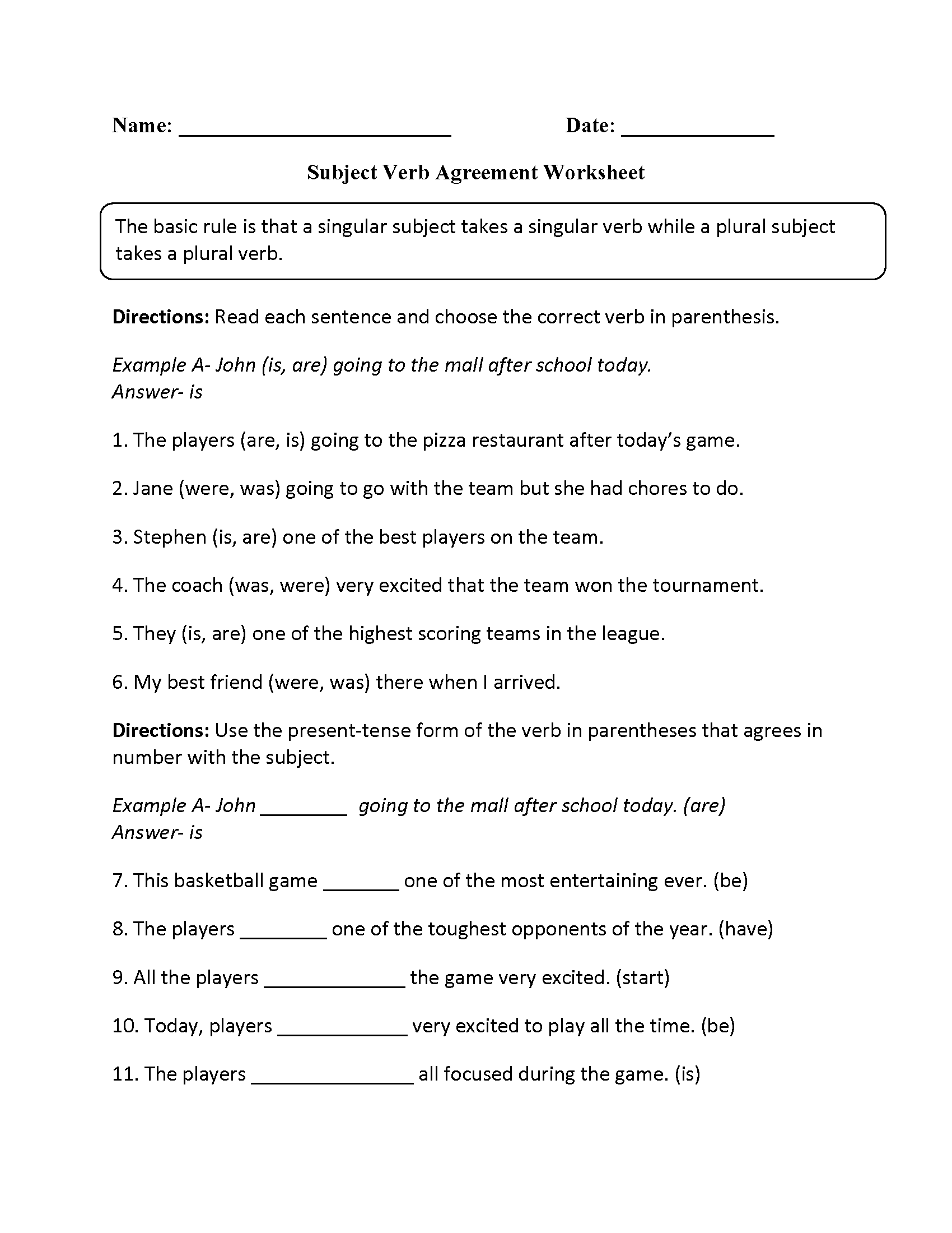 Parts Speech Worksheets – Subject Verb Agreement Worksheet 4th Grade