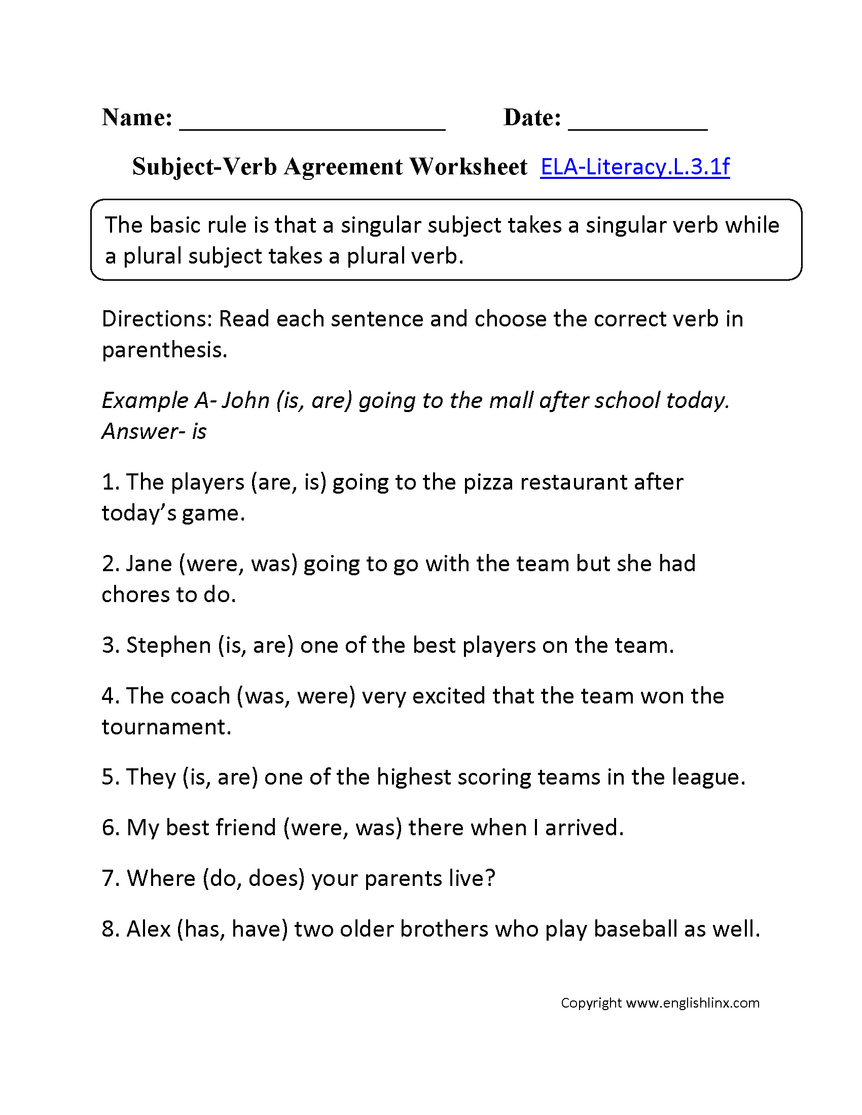 Worksheets Subject Verb Agreement Worksheets 3rd Grade 3rd grade common core language worksheets subject verb agreement worksheet 2 ela literacy l 3 1f worksheet