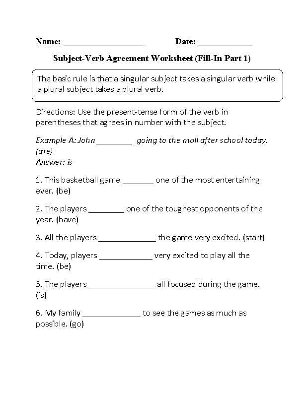 Verbs worksheets subject verb agreement worksheets subject verb agreement worksheet ibookread PDF