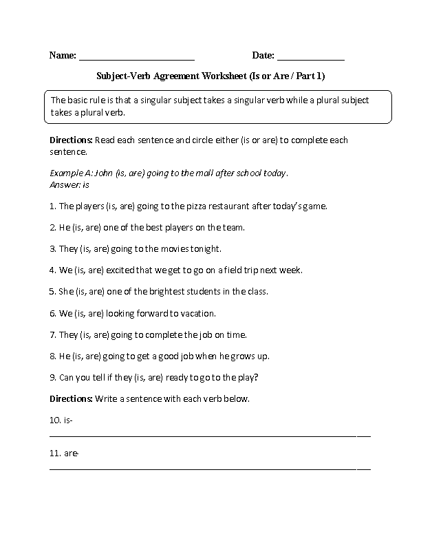Subject Verb Agreement Worksheets Is And Are Subject Verb