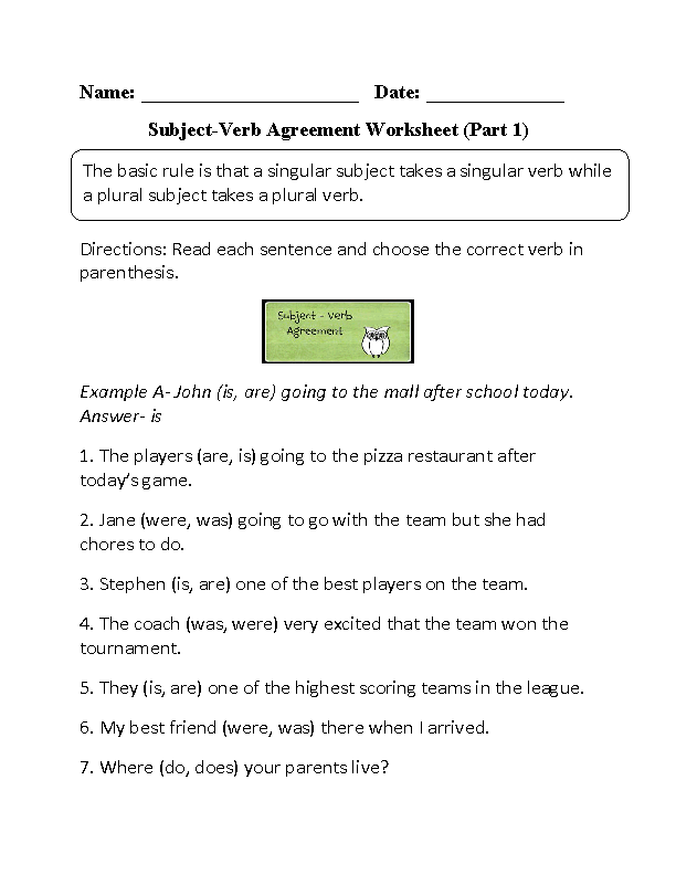 Subject verb agreement worksheets choosing subject verb agreement