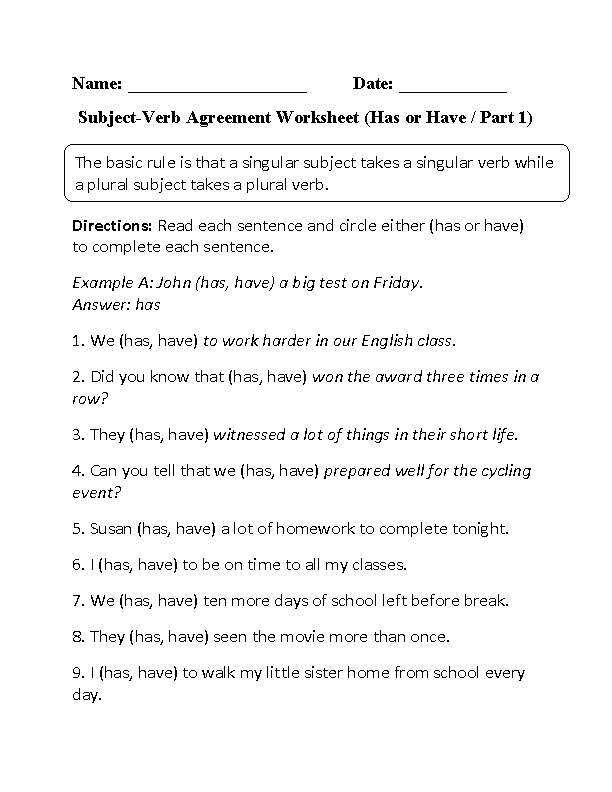 Worksheets Pronoun Verb Agreement Worksheet subject verb agreement worksheets has or have worksheet