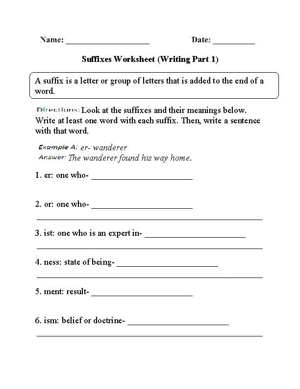 Englishlinx.com | Suffixes Worksheets