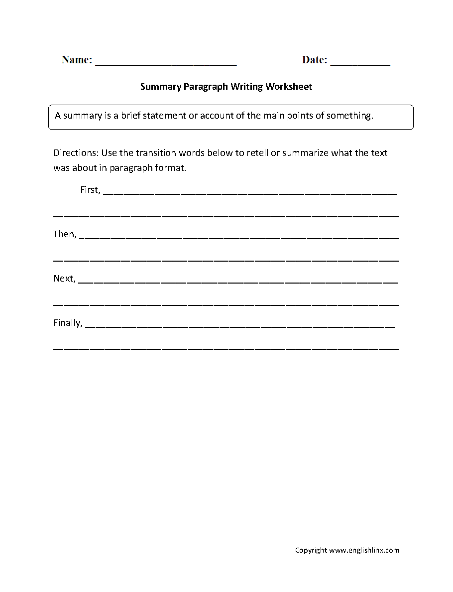 Worksheets Paragraph Writing Worksheets writing worksheets paragraph summary worksheets