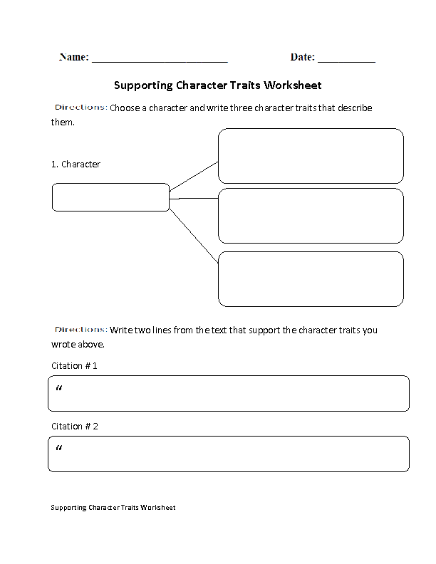 Englishlinx – Identifying Character Traits Worksheet