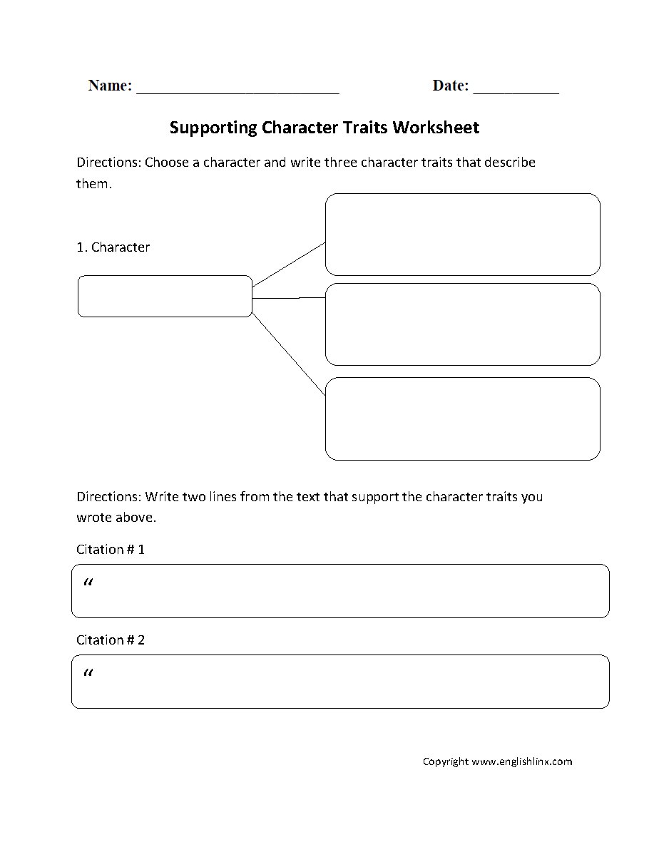 Reading Worksheets – Identifying Character Traits Worksheet