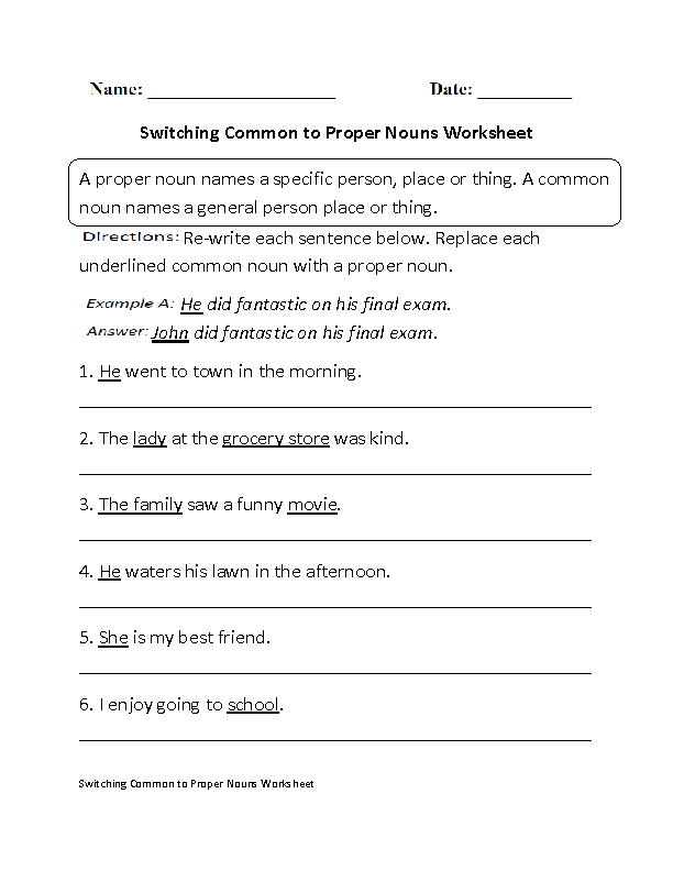 Printables Common Nouns Worksheet nouns worksheets proper and common switching to worksheet